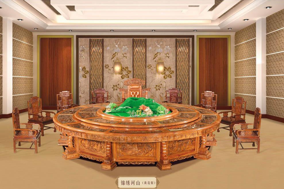 緬甸花梨木紅木酒店自動餐桌 錦繡河